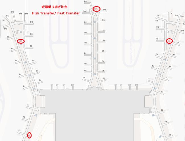イスタンブール空港 短縮乗り継ぎ地点